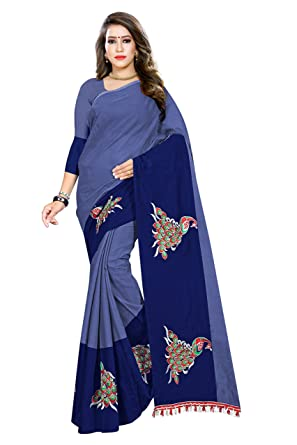 b0a93caca Indian Fashionista Women s Chanderi Cotton Saree with unstiched Blouse Piece  (MHVR290-1797 Free Size Navy Blue