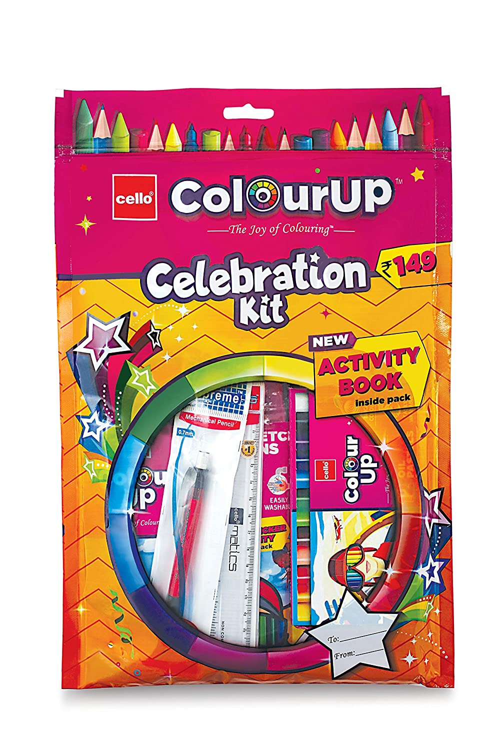 Cello ColourUp Celebration Kit - Gift Pack|Colouring Kit for Kids|Combo Pack with Colours and Activity Book | Hobby Stationery for Home and School