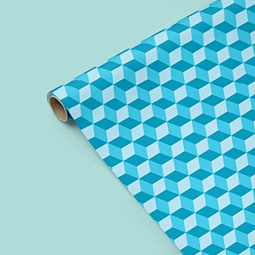 Amazon Teal Hexagon Gift Wrapping Paper