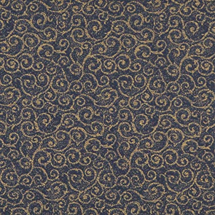 Amazon Com Navy Blue And Gold Abstract Scroll Or Swirl Pattern