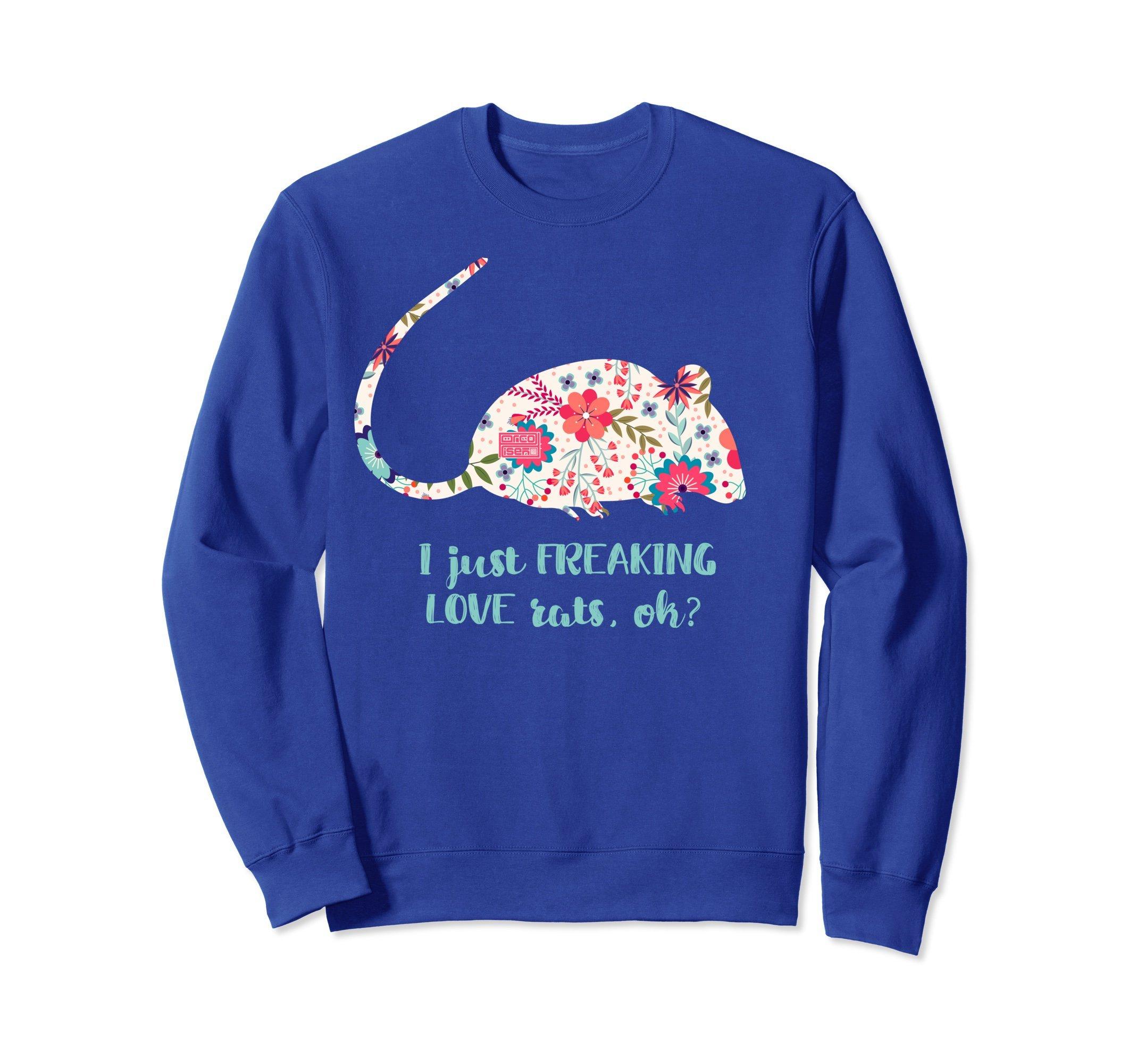 Unisex Pale Floral Freaking Love RATS Rat Mouse Animal Sweatshirt Medium Royal Blue