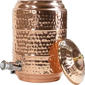 Red Co. Large Decorative Antique Hand-Hammered Copper Multipurpose Beverage Dispenser with Spigot and Lid for Cold & Hot Drinks, 1.25 Gallon