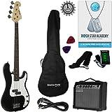 Stretton Payne Electric BASS Guitar P-Bass Maple Neck Full Package. Bass Guitar in Black.
