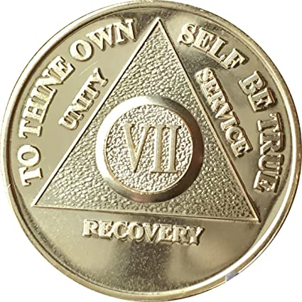 7 Year AA Medallion Alcoholics Anonymous Sobriety Chip Coin VII Seven Bronze