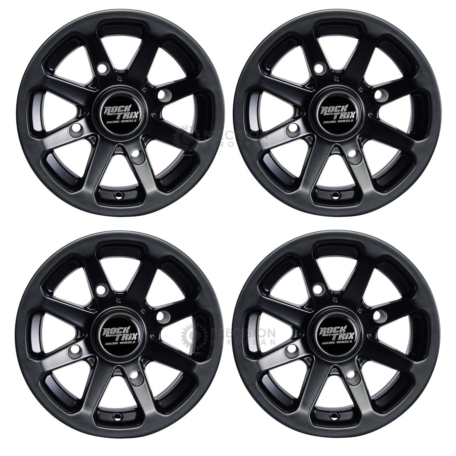 4pc 12'' RockTrix ATV Wheels 12x7 Rims Matte Black | 4x156 Bolt Pattern | 4+3 offset | for many Polaris Sportsman RZR Ranger (4/156)