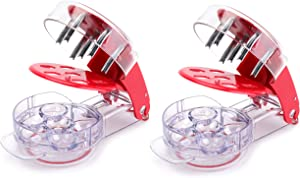 Cedilis 2 Pack Cherry Pitter Tool, Stainless Steel Cherry Remover, 6 Cherries at Once, Cherry Stoner Seed Pitter with Pit and Juice Container