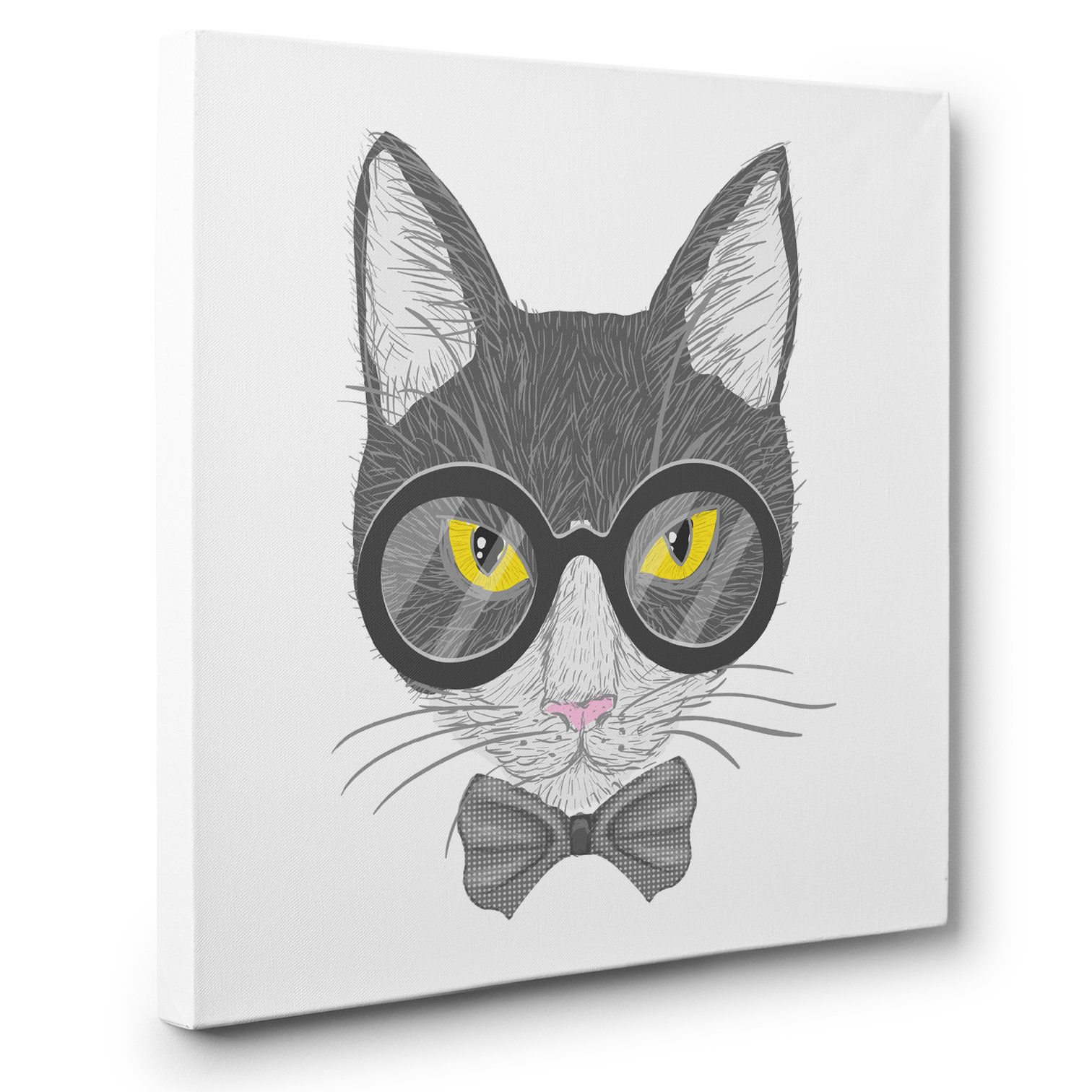 Gray Glasses Hipster Cat CANVAS Wall Art Home Décor