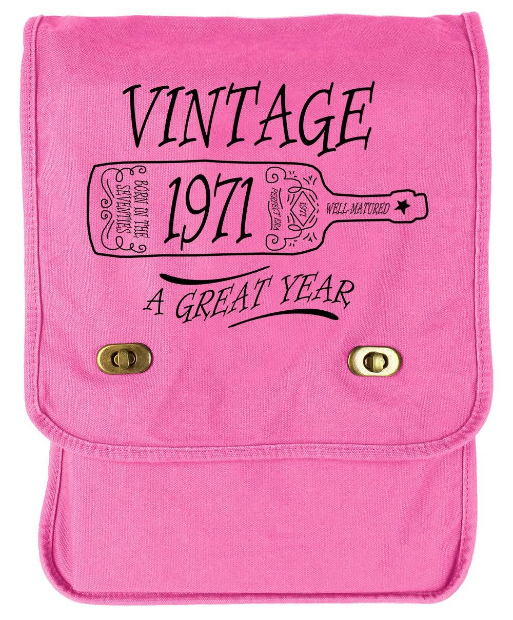 Tenacitee Aged Like a Fine Wine 1971 Grey Brushed Canvas Messenger Bag