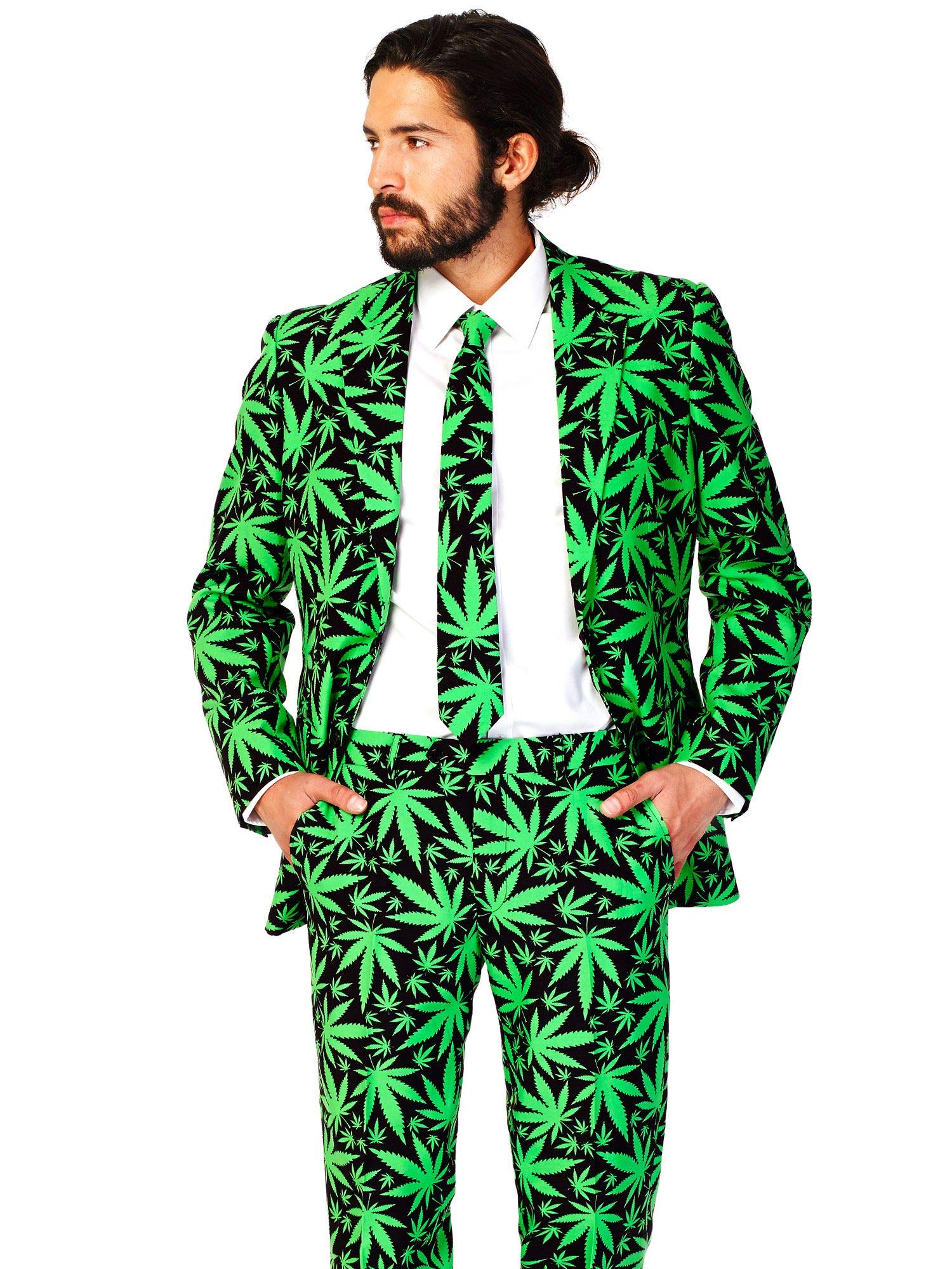 OppoSuits Men's Cannaboss Party Costume Suit, Black/Green, 52