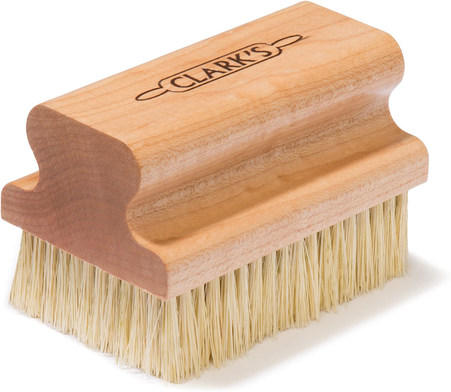 CLARK'S Large Scrub Brush | Maple Construction | Scrub Brush for Cast Iron, Cutting Boards, Butcher Blocks, Dishes, Countertops and wood surfaces | Proudly made in the USA