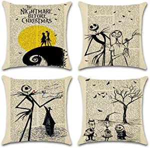 Hixixi 4-Pack Happy Halloween Skull Vintage Newspaper Christmas Night Throw Pillow Case Cotton Linen Sushion Cover Pumpkin Xmas Room Decor