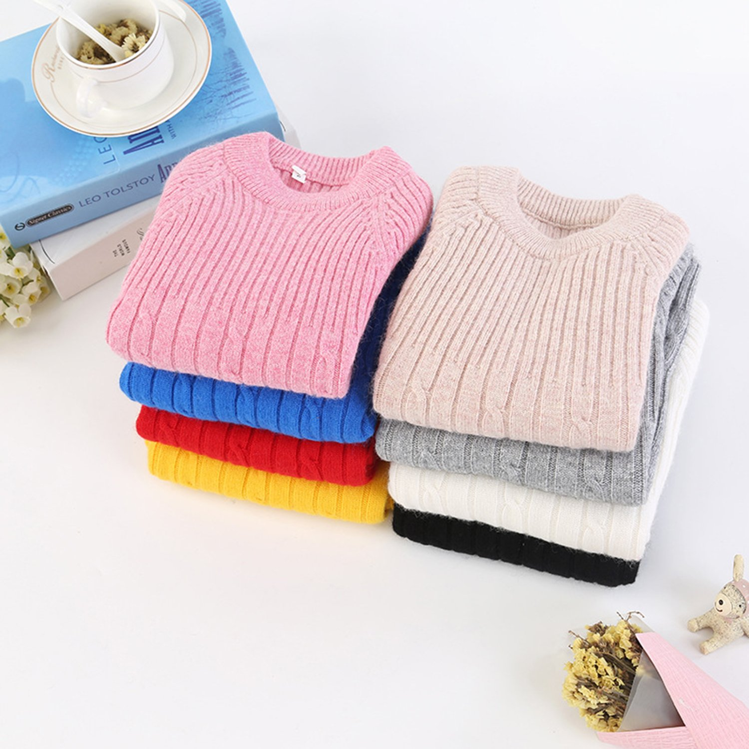 Euno Autumn and Winter Girls knitting round neck Natural cashmere Pullover Sweater