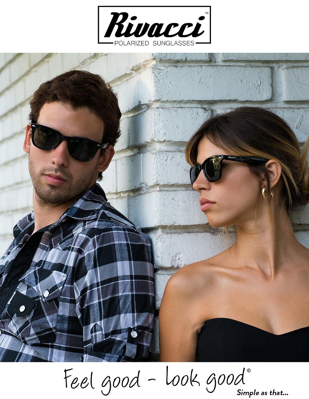 Rivacci Men Women Wayfarer Black Frame / G15 Green - Gray Lens Classic Retro Polarized Sunglasses at Amazon Mens Clothing store: