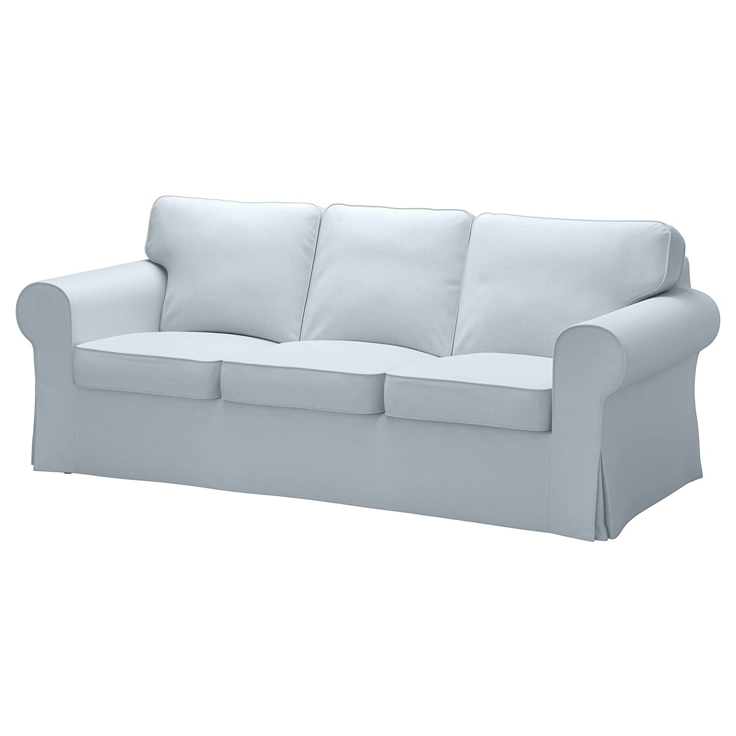 Nordvalla Light Blue slipcover for Ikea Ektorp sofa is a wonderful way to update your Ikea sofa! #ikeahack #ektorp #slipcoversofa