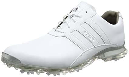 Adidas 2017 AdiPure Classic Mens Spikes Waterproof Leather Golf Shoes -  Standard Fitting White/Silver