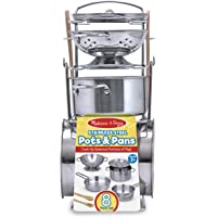 Melissa & Doug 4265 Stainless Steel Pots and Pans Pretend Play Kitchen Set for Kids (8 pcs)