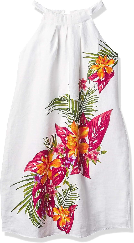 28 Palms Women's 100% Linen Halter Hawaiian Print Shift Dress