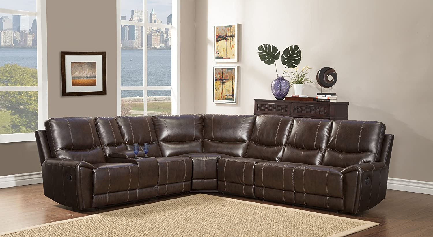 Attirant Amazon.com: Homelegance 4 Piece Bonded Leather Sectional Reclining Sofa  With Cup Holder Console, Brown: Kitchen U0026 Dining