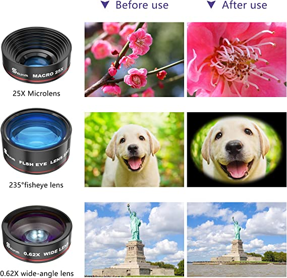 Compatible for iPhone 11 X 8 7 6 Plus X XS XR Samsung Galaxy Selvim Phone Camera Lens Kits 4 in 1: 22X Telephoto Lens 0.62X Wide Angle Lens 235/° Fisheye Lens 25X Macro Lens