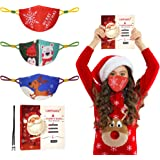 Christmas Face Mask for Kids Adults, Cloth Face Mask Reusable Washable, Breathable Cotton Mask with Adjustable Ear Loops…