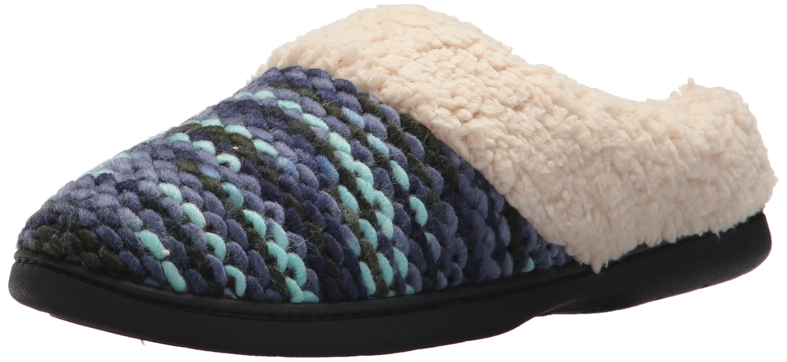 Dearfoams Women's Textured Sweater Knit Clog, Peacoat, S Medium US