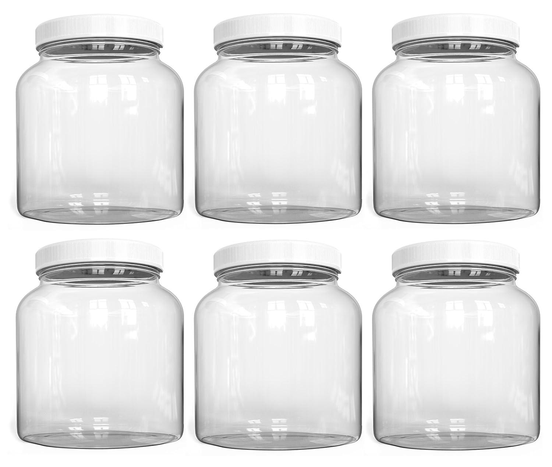 KombuJars ½ Half Gallon GLASS Jars 64 oz Airtight Lined Seal Plastic Lid Cap, Wide Mouth Jar, Brewing Fermenting Kombucha, Storage Bottles Kefir Canning, Clear, Multi-use Mason (6)