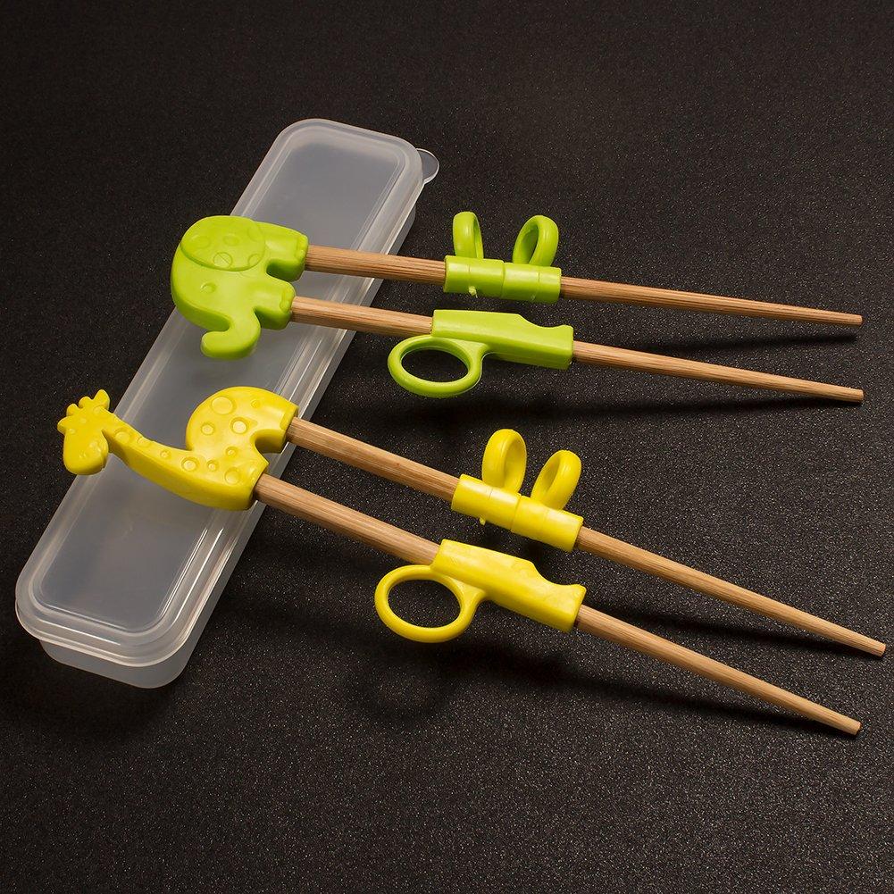 Baguettes Chinoises Enfant,UniquQ 2 Paires de Formation Animale Baguettes Aide pour Enfants Baguettes Enfants de Formation en Bois Naturel