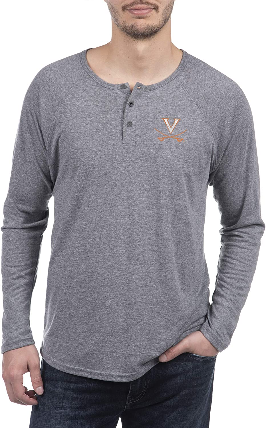 Top of the World Mens Premium Triblend Long Sleeve Gray Heather Henley