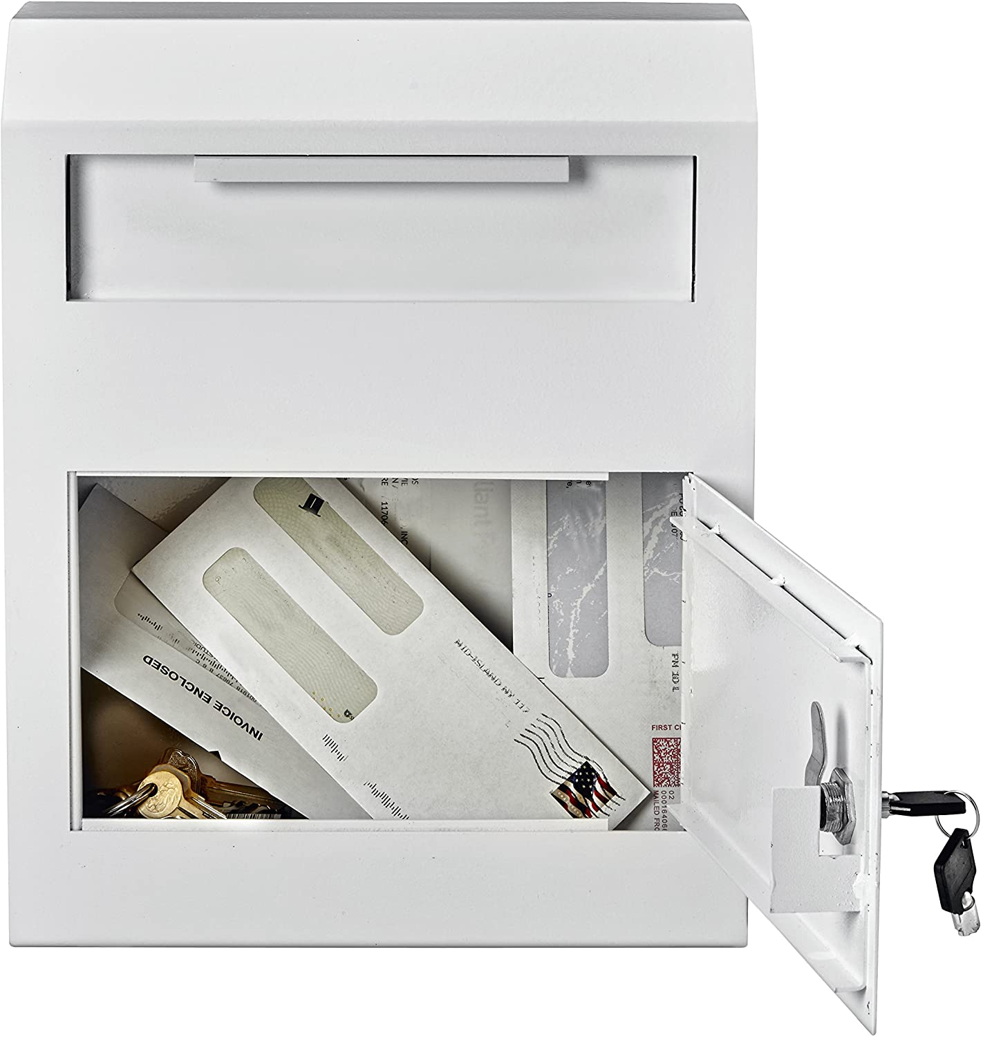 AdirOffice Heavy Duty Secured Safe Drop Box - Suggestion Box - Locking Mailbox - Key Drop Box - Wall Mounted Mail Box - Safe Lock Box - Ballot Box - Donation Box (White) : Office Products
