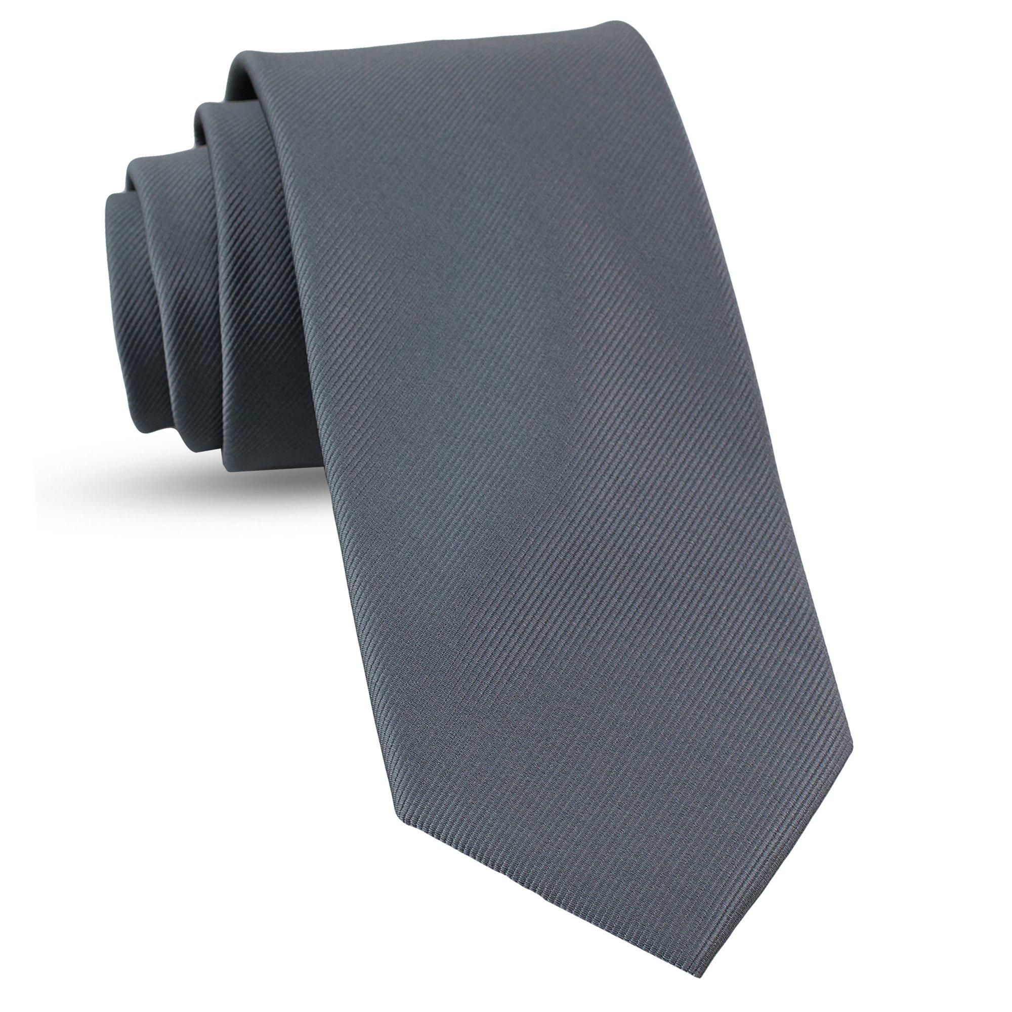 Handmade Gunmetal Grey Gray Ties For Men Skinny Woven Slim Tie Mens Ties : Thin Necktie, Solid Color Neckties 3''