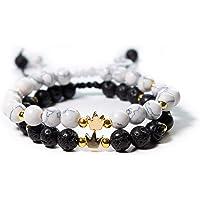 Pulseras de Pareja- Par de pulseras para enamorados – Pulseras Pareja Imperial- Chapa de Oro 18K- Hilo Blanco y Negro…