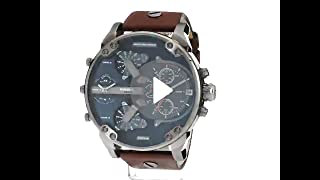9330e8e67 Diesel Men's Mr Daddy 2.0 Quartz Stainless Steel and Leather Chronograph  Watch, Color: Grey, Brown (Model: DZ7314)