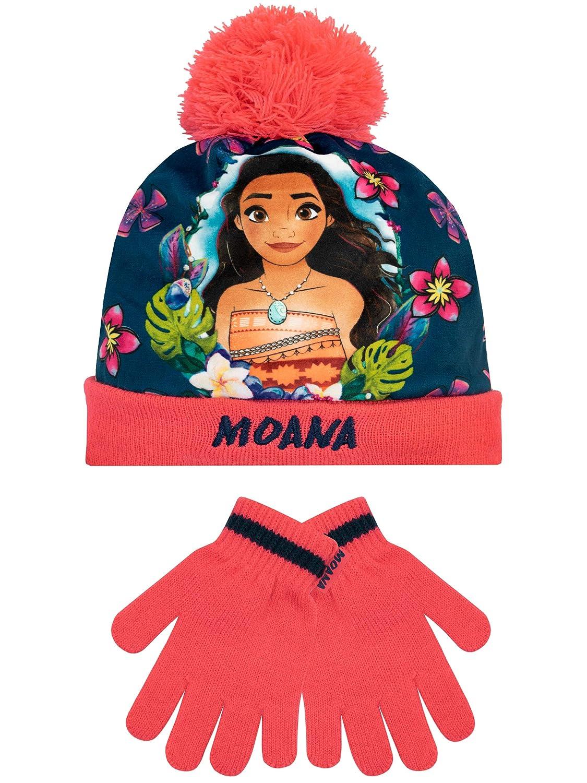 Disney Girls Moana Hat /& Gloves Set Pink One Size