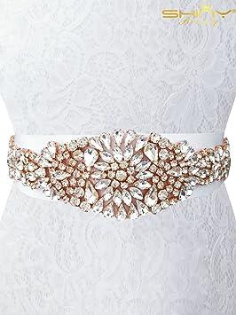 ShinyBeauty Strass Applique Strass Applique Bordure Strass Applique pour  Robe de mariée Ra009, Rose Gold 2db01535417