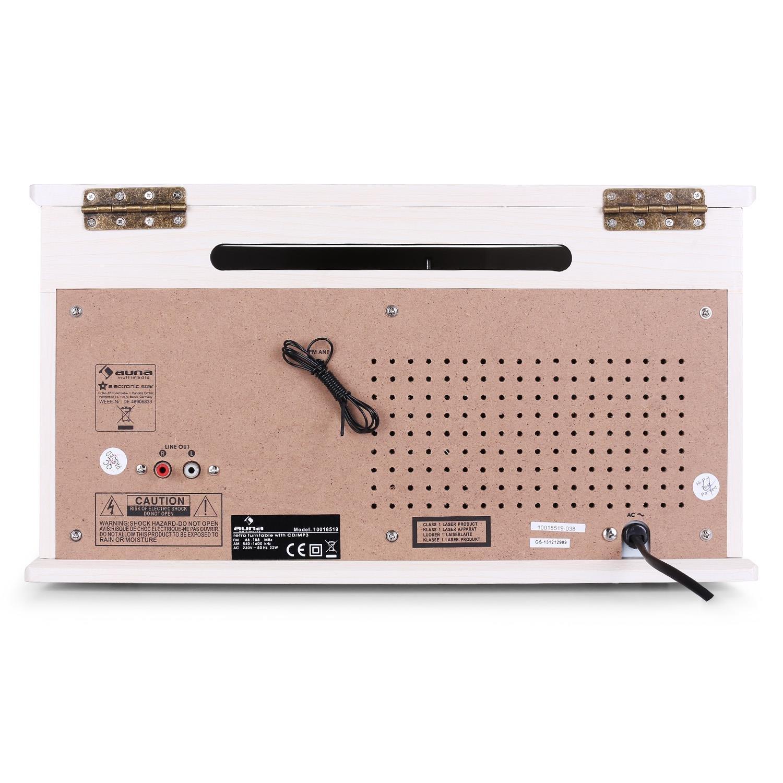 Auna 10018519 Nr-620 Tocadiscos Reproductor de Vinilos y CD, Altavoces Estéreo, Accionamiento Correa, 3 Velocidades, Máx. 45 RPM, Sintonizador Radio ...