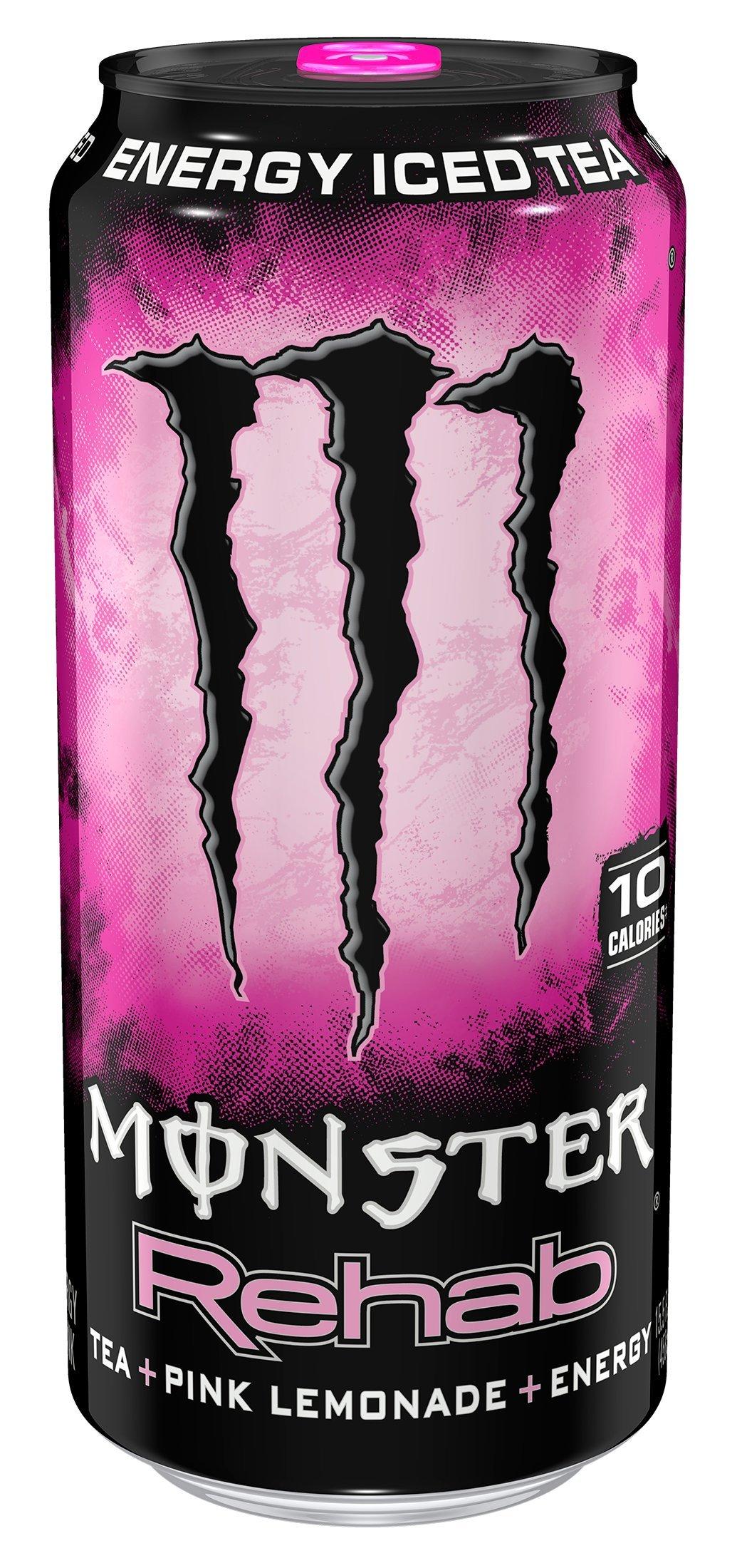 Monster Rehab, Tea + Pink Lemonade + Energy, 15.5 Ounce (Pack of 24)