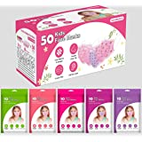 Kids Disposable FACE Masks 50 Pieces (5 Packs of 10 RESEALABLE Bags)