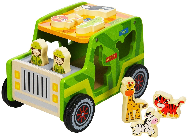 Tooky Toys TKF005 Wooden Safari Jeep Various