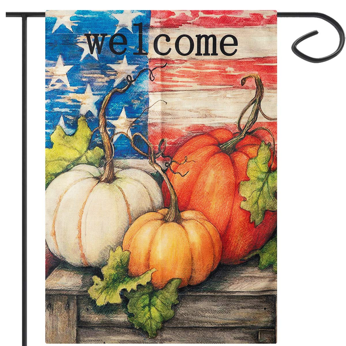 Apipi 18 x 12 Inch Welcome Fall Garden Flag- Double Sided Patriotic Decorative Thanksgiving Autumn Harvest Pumpkin House Flag, Rustic Country Burlap Garden Yard Flag for Home Seasonal Outdoor Decor