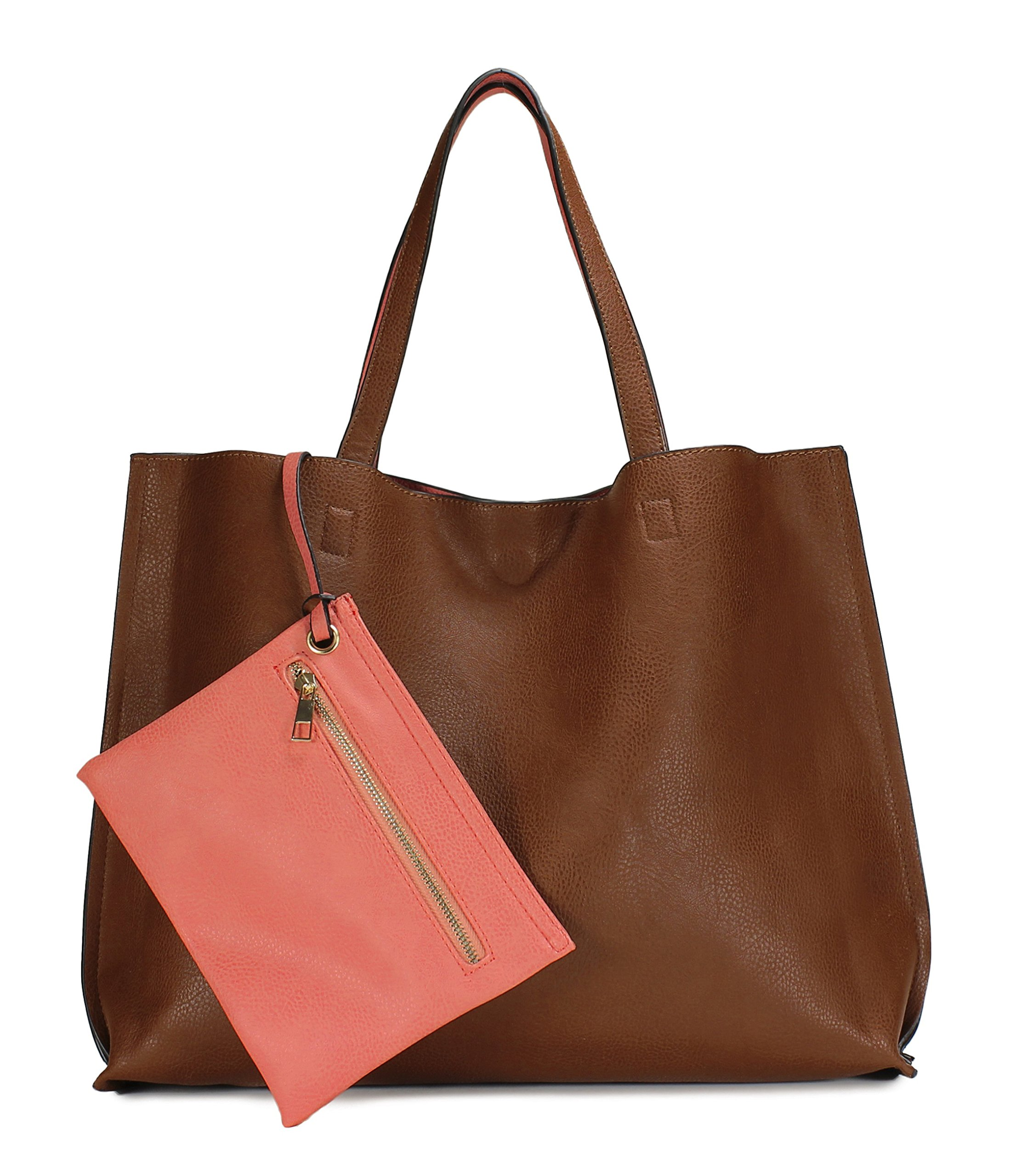 Scarleton Stylish Reversible Tote Handbag H18420452 - Brown/Coral Pink