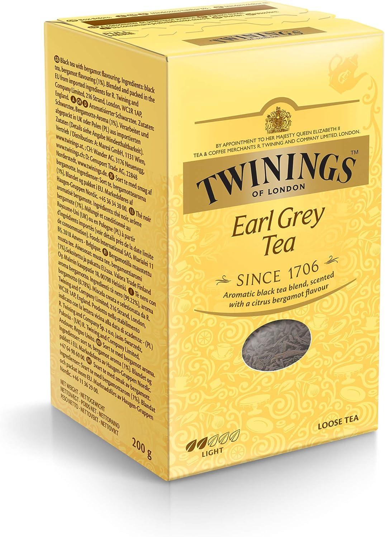 Twinings Earl Grey Té sin 200 g, 1er Pack (1 x 200 g): Amazon.es: Alimentación y bebidas