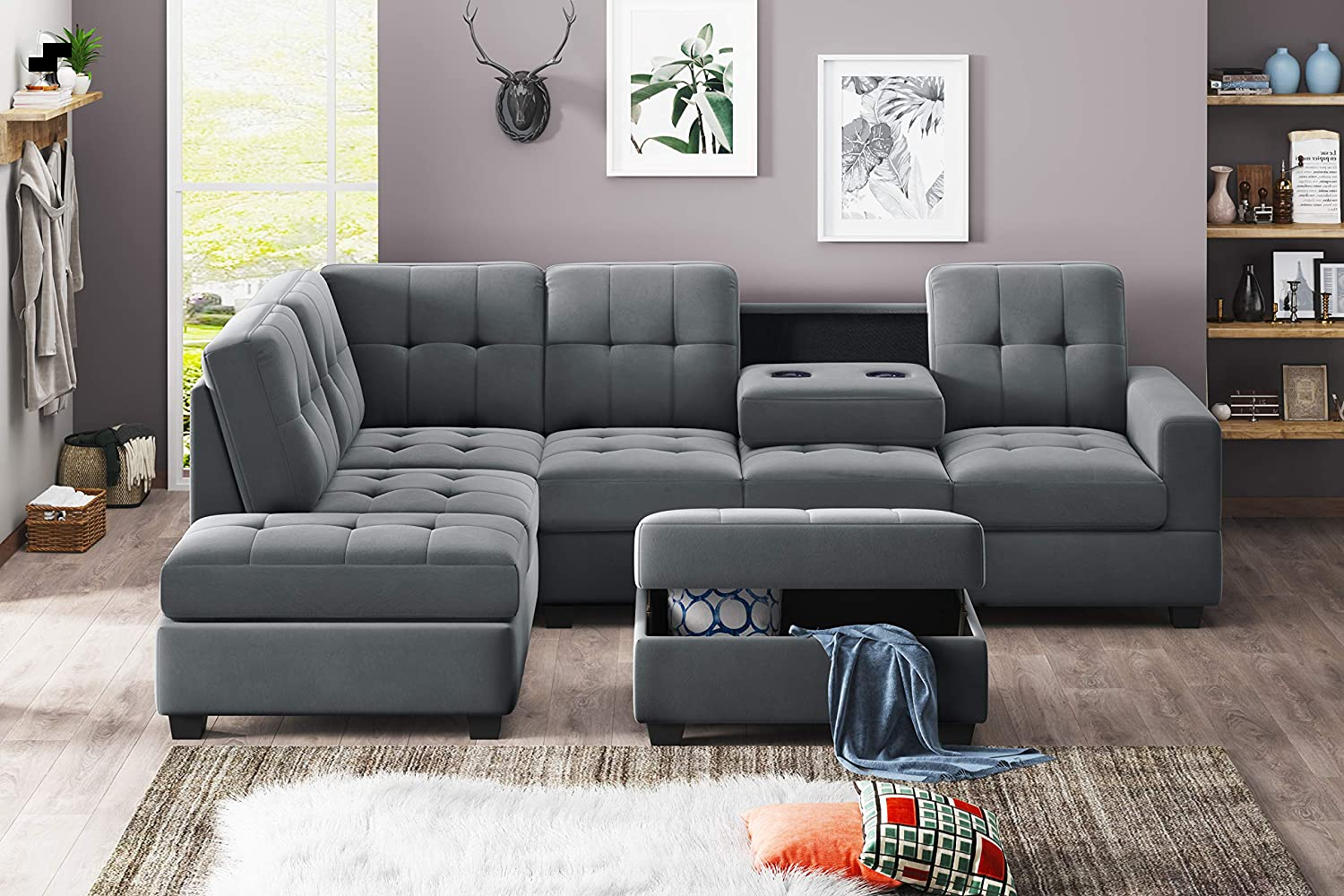 3-Piece Modular Sofa, Microfiber Sofa, with footrests and Cup Holders for Reclining Chair