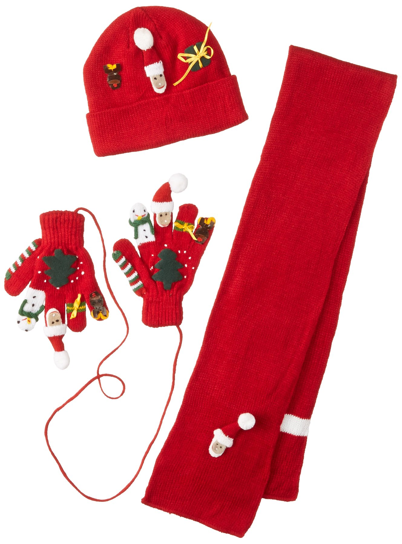 Kidorable Red Christmas Soft Hat/Scarf/Glove Set With Santa, Snowman, Reindeer and More, Ages 3-5