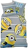 CTI Les Minions Team Parure Housse de Couette 140 x 200 cm + Taie d'Oreiller 63 x 63 cm Coton Gris/Jaune