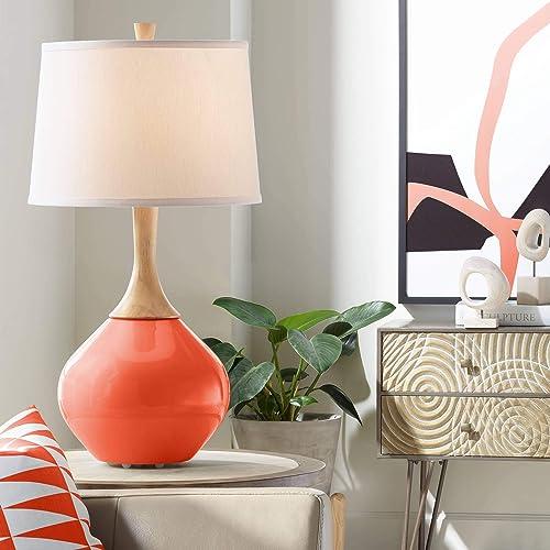 Wexler Modern Table Lamp Daredevil Orange Glass Wood Neck Plain White Drum Shade for Living Room Family Bedroom Bedside – Color Plus