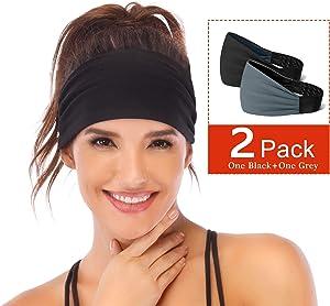 Heathyoga Non-Slip Headbands for Women -Silicone Grippy Headbands & Sweat Bands Headbands for Workout, Running, Gym, Yoga Bike Helmet Friendly, Performance Stretch & Moisture Wicking