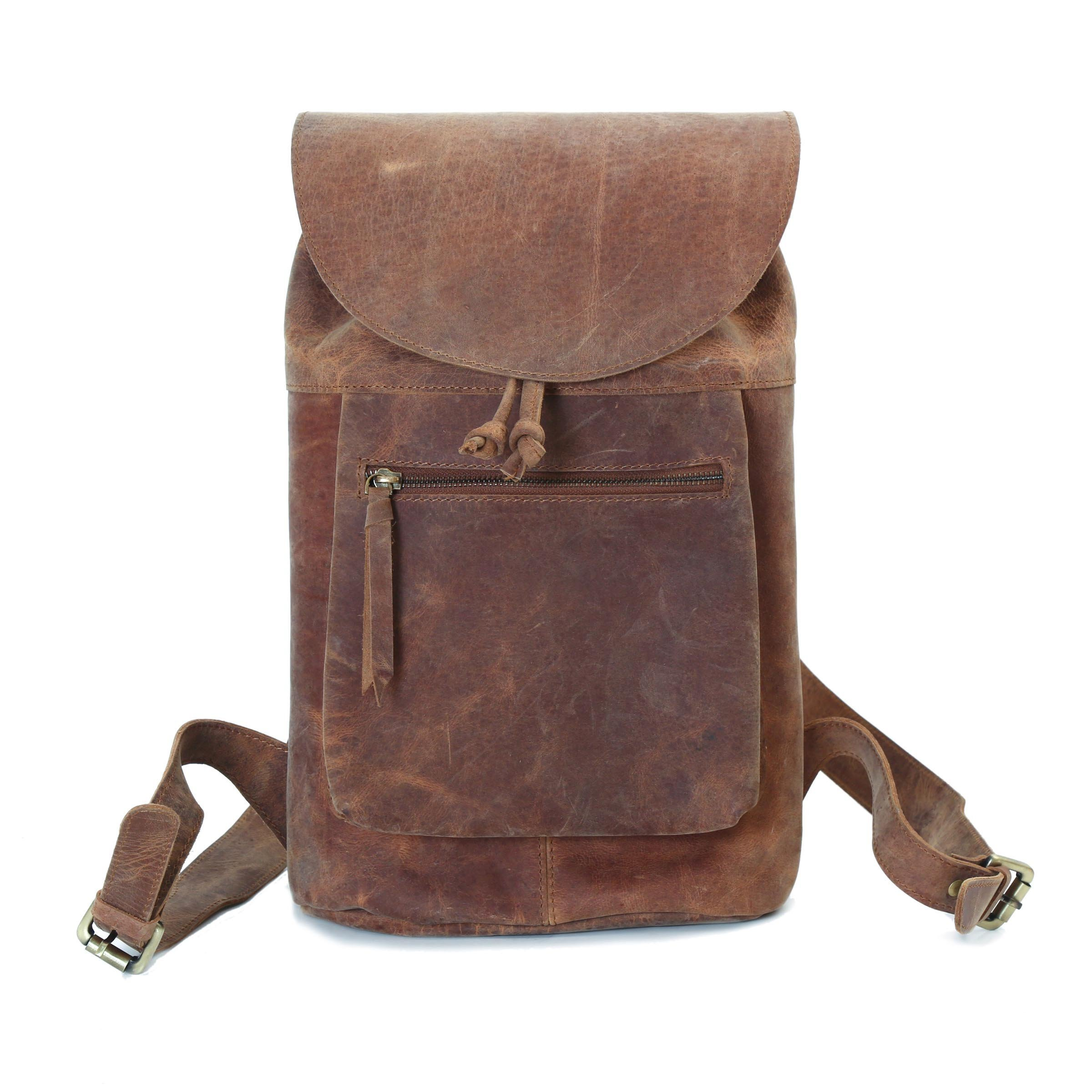 Large Distressed Brown Top Grain Leather Backpack Bag for Women with Flap and Drawstring Cinch Closure