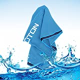 OMOTON High-tech Cooling Towel for Instant Relief-Soft Breathable Mesh Yoga Towel-Keep Cool for Running Biking Hiking and all Other Sports