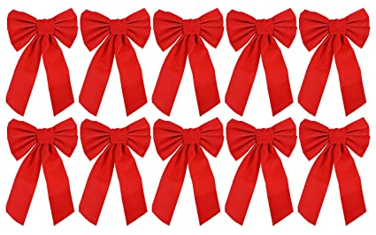 red velvet christmas bow 9 inch x 16 inch 10 pack of holiday - Red Christmas Bows
