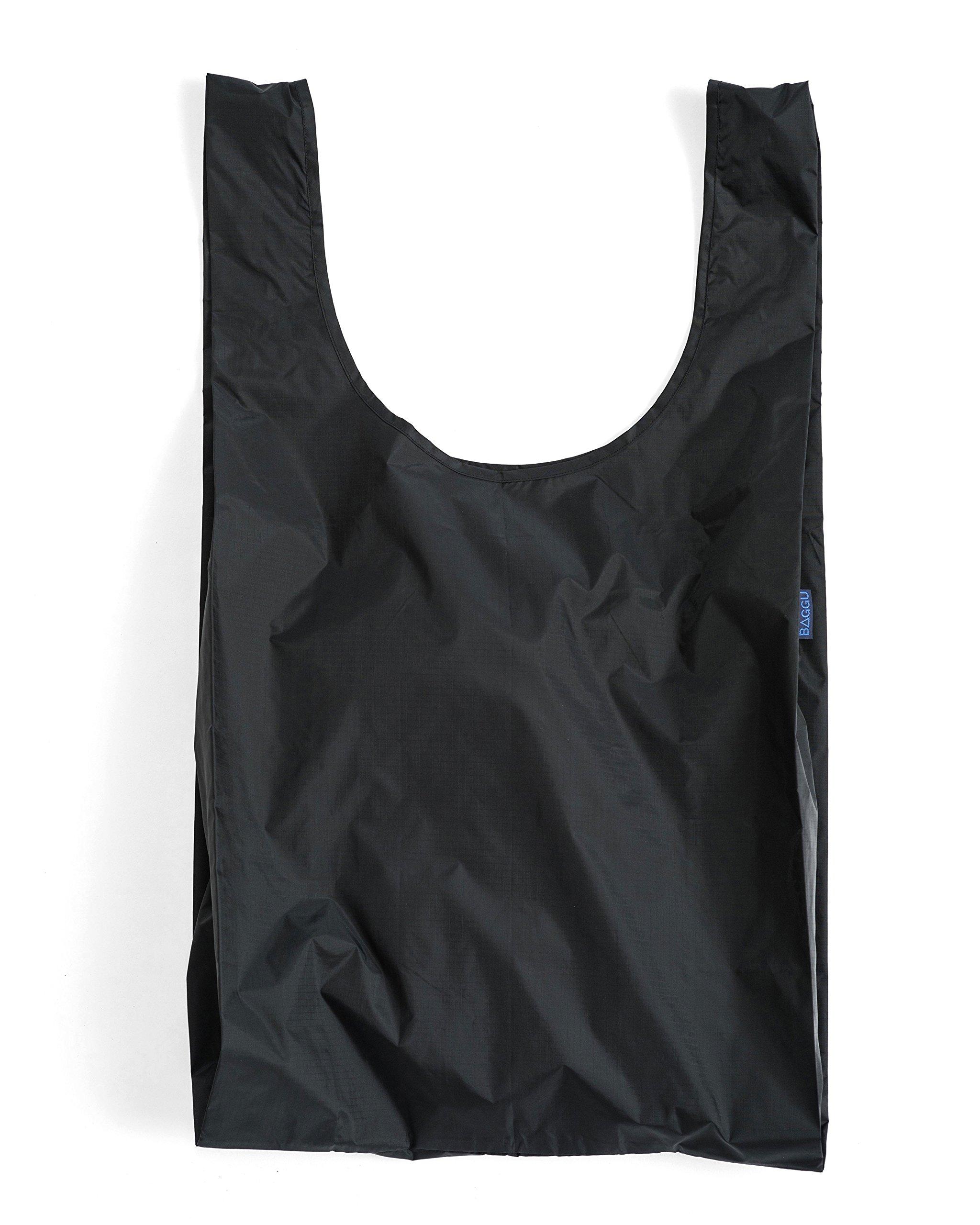 BAGGU Large Reusable Shopping Bag, Foldable Ripstop Nylon Tote for Laundry or Shopping, Black